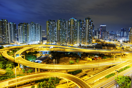 off ramp: aerial view of the city overpass at night, HongKong,Asia China