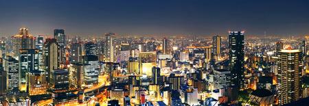 Panoramic Osaka at night, Japan  Standard-Bild