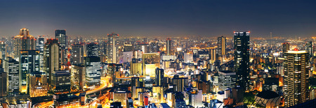 Panoramic Osaka at night, Japan  Stok Fotoğraf