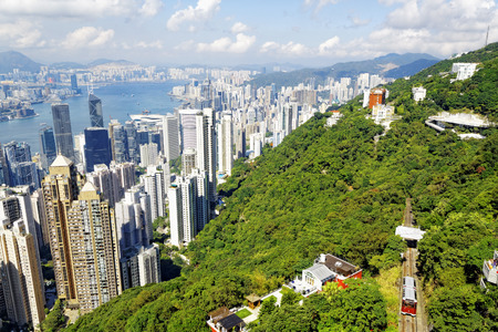 Hong Kong skyline. View from Victoria Peak.  Stok Fotoğraf