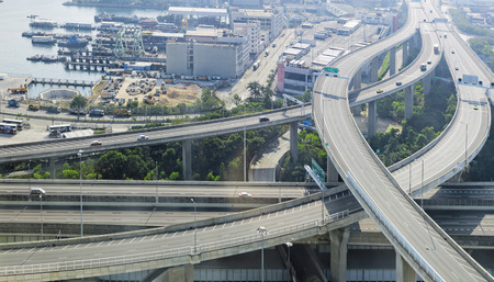 off ramp: aerial view of the city overpass in early morning, HongKong,Asia China