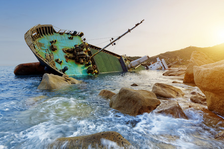 shipwreck and seascape sunset in hong kong photo