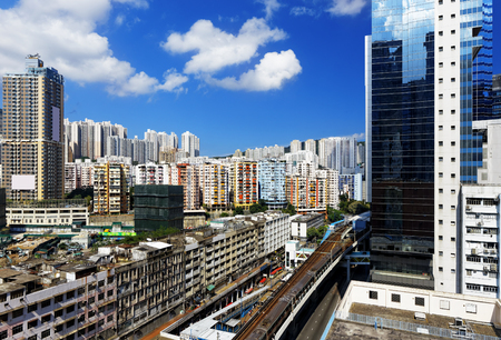 Hong Kong Day, Kwun Tong distract , skyline office buildings and public house urban photo
