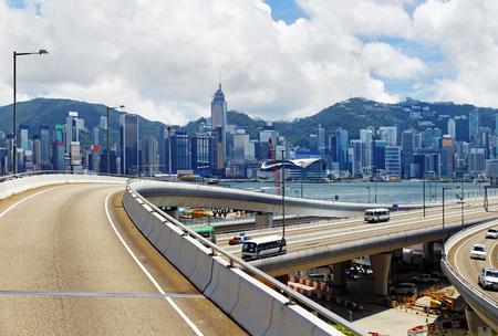 Highway and skylines in modern HongKong city photo