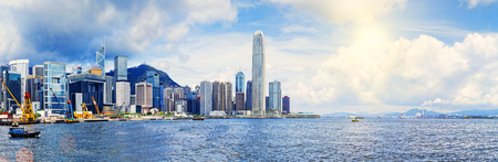 Hong Kong harbour , Wan Chai Waterfront Promenade Stock Photo - 29140187