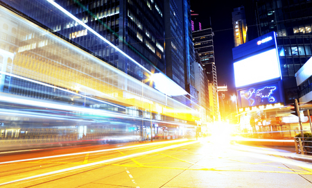 hong kong modern city High speed traffic and blurred light trails  photo