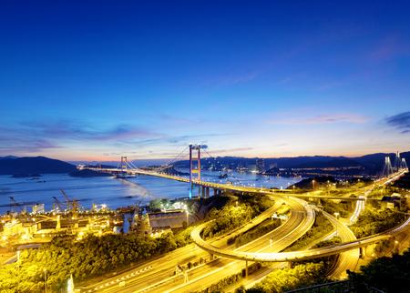 Tsing Ma Bridge sunset , hong kong landmark Imagens