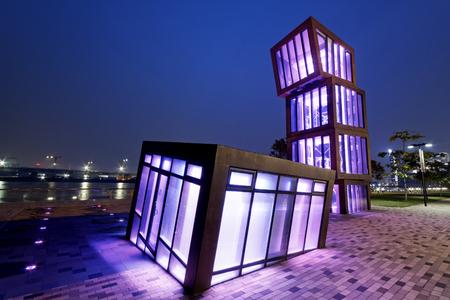 kong river: AbstracT Architecture at night , Hong Kong Kwun Tong