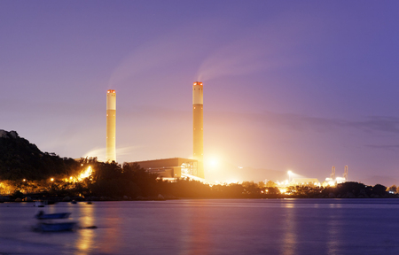 coal plant: coal power station and cement plant at night  Stock Photo