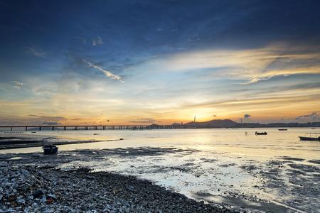 Sunset beach in hong kong  Lau Fau Shan photo