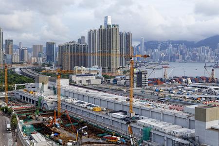 materiales de construccion: Obras de construcci�n en hong kong en el d�a