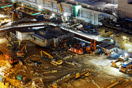 sites: Construction site Aerial Shot at night