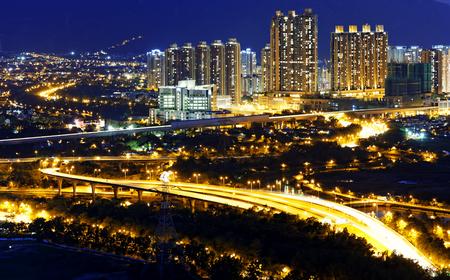 Urban downtown at sunset moment, Hong Kong Yuen Long photo