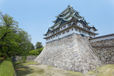 Nagoya castle atop with golden tiger fish head pair called King Cha Chi, Japan
