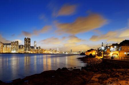 Hong Kong fishing valley at sunset , Lei Yue Mun 版權商用圖片