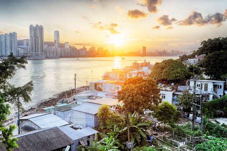 Sunset in Hong Kong fishing valley, Lei Yue Mun photo