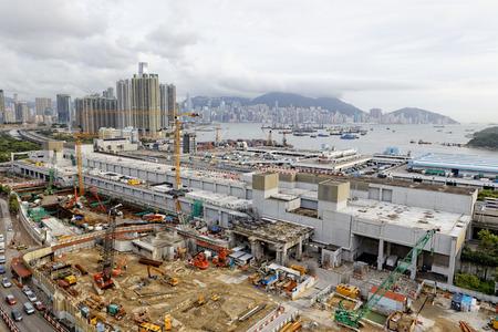 Construction site Aerial Shot at day, hong kong