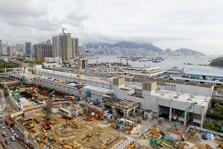 Construction site Aerial Shot at day, hong kong