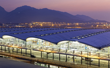 Hong Kong famous International Airport at the evening time