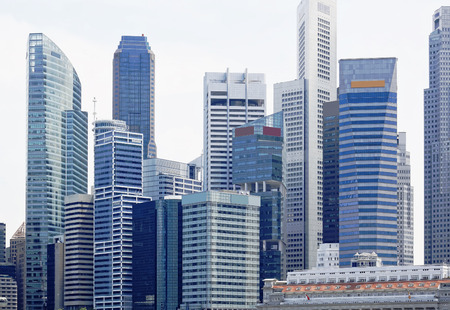 commercial district: Singapore city skyline at day asia famous downtown