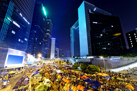 central government: Occupy Central, hong kong city night Editorial