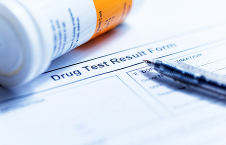 chemotherapy drug: Drug test blank form with Variety of medicines Stock Photo