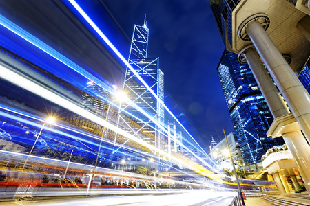 street view: night scene of modern city, China Hong Kong Stock Photo