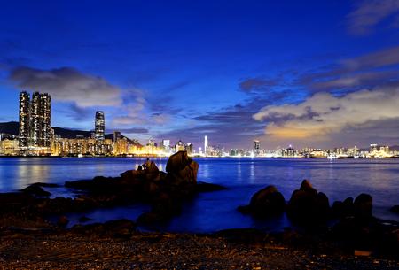 Hong Kong Sunset, Yau Tong Lei Yue Mun water bay and lighthouse photo