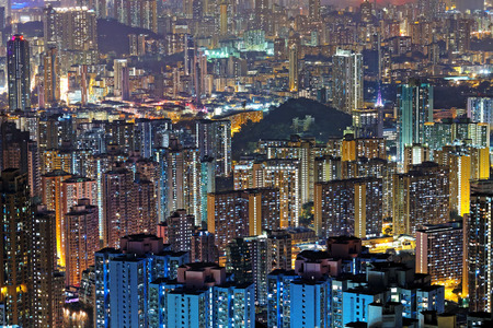 public housing: hong kong public housing at night Stock Photo
