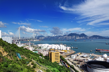 rafinery: petrochemical industrial plants under blue sky in hong kong