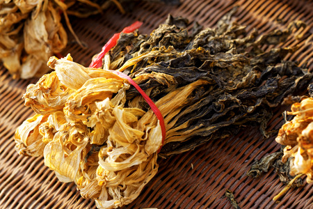 dehydrated: Chinese dried white cabbage on bamboo background