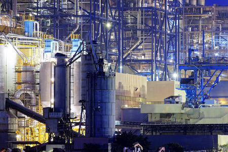 fuel tanks: Power Station, oil and fuel tanks in hong kong at night