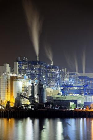 powerplant: power station at night with smoke, hong kong Stock Photo