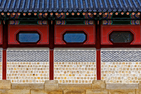 repetition: Chinese-style brick wall close up