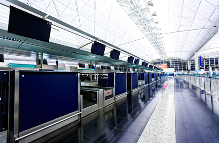 metal detector: airport check-in counter, hong kong Stock Photo
