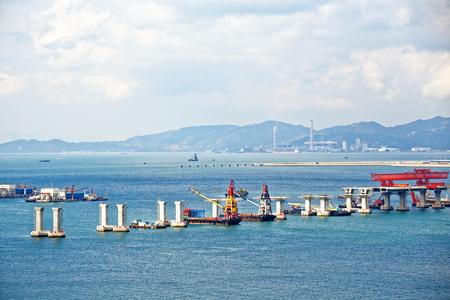 construction site of Hong Kong Zhuhai Macau Macao Bridge at day Standard-Bild