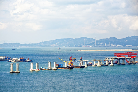 construction site of Hong Kong Zhuhai Macau Macao Bridge at day 版權商用圖片