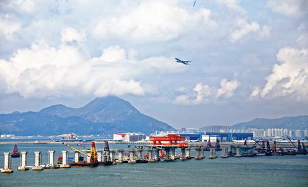 construction site of Hong Kong Zhuhai Macau Macao Bridge at day Stock Photo