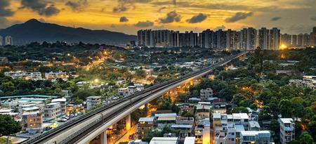 hong: hong kong urban downtown and sunset speed train, Long Ping Stock Photo