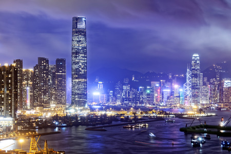 hk: Hong Kong skylines at night