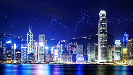 storms: Lightning storm in the Hong Kong island night sky.
