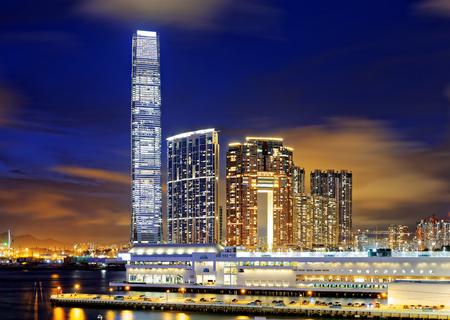 kowloon: Kowloon office buildings at night, hong kong