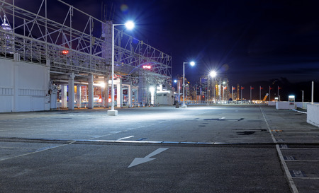 car park interior: Empty car park at night