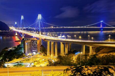 ting: Ting Kau bridge at night, Hong Kong landmark