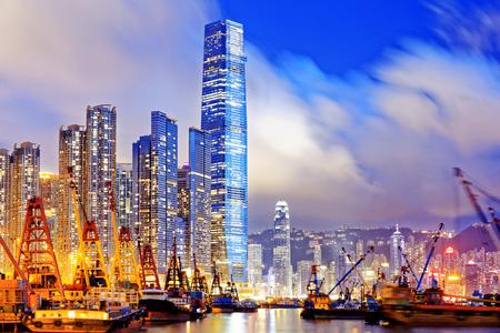 china: Hong Kong at night, office buildings background