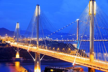 ting: highway bridge at night with traces of light traffic, Ting Kau bridge at hong kong.