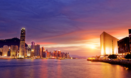 peak: Beautiful HongKong cityscape at sunset, Hong kong city. Stock Photo