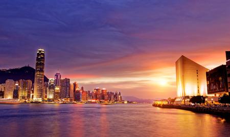 Beautiful HongKong cityscape at sunset, Hong kong city. Standard-Bild
