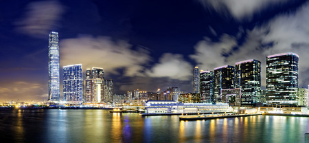 citylife: hong kong modern office buildings at night Stock Photo