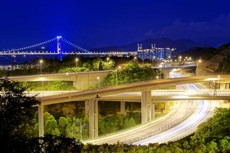 ma: Highway traffic road and tsing ma bridge at night